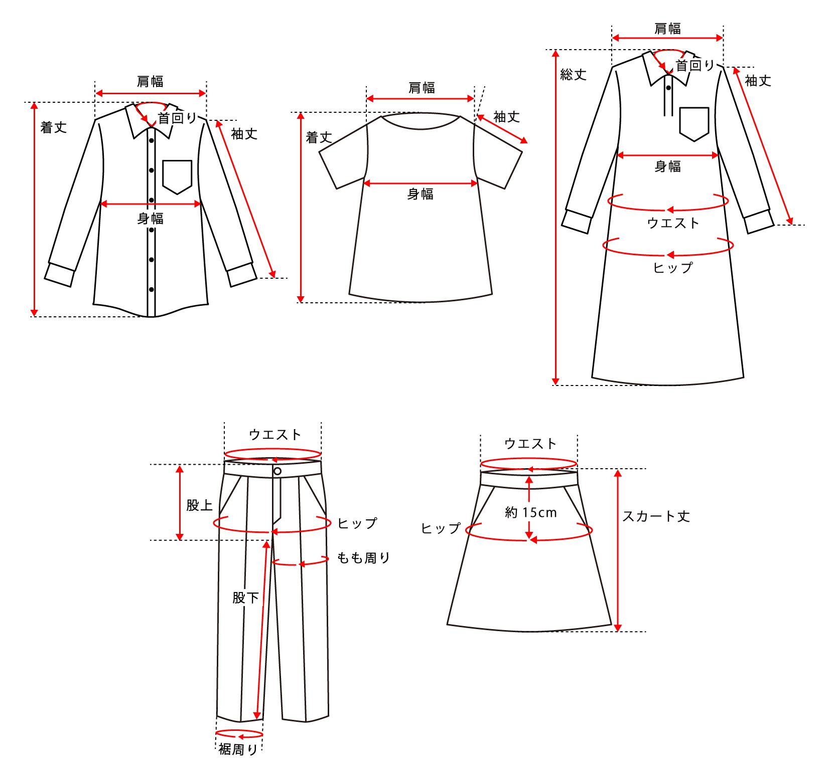 服サイズ計測図